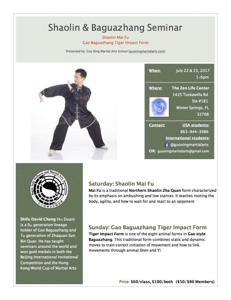 Shaolin mai fu and gao bagua zhang tiger impact form seminars