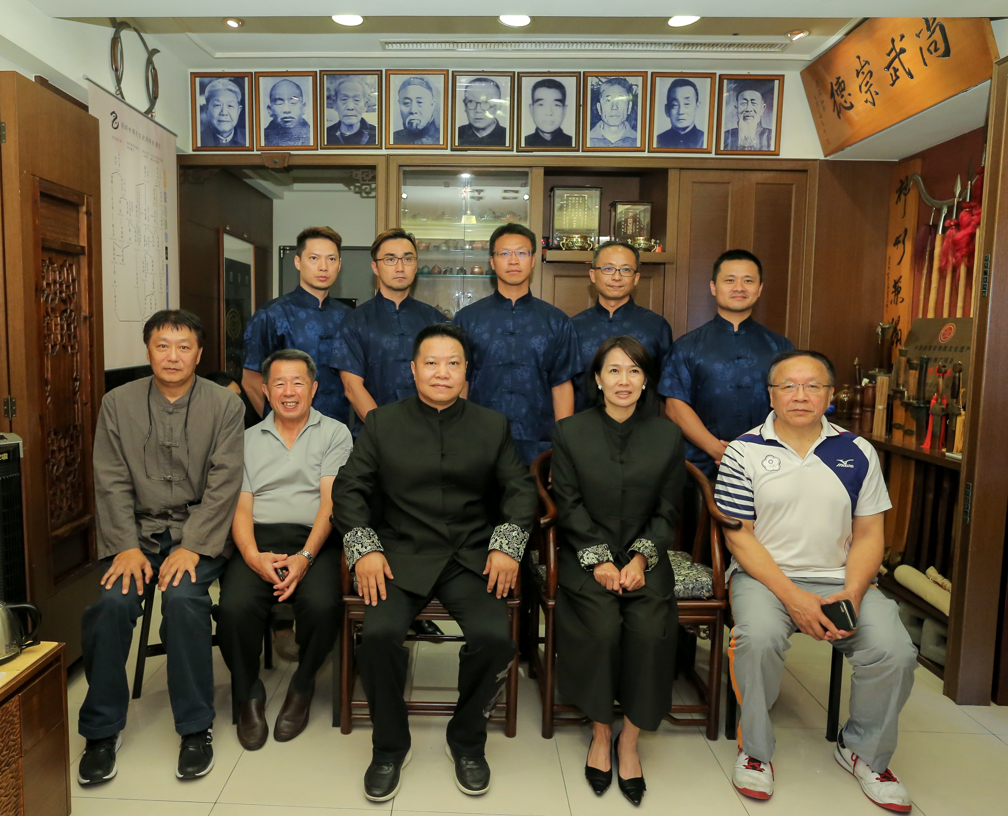 Grandmaster Zhang Shibo and wife (center, bottom). And Shifu Yukai Chang, Ph.D. (center top).