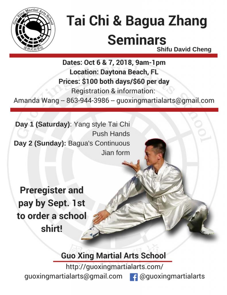 Tai Chi and Bagua Zhang seminars Guo Xing Martial Arts School